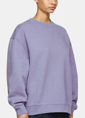 New ACNE STUDIOS Fyona Light Blue oversized cotton-jersey sweatshirt Sz S