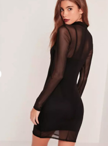 MISSGUIDED Black Sheer Mesh Sexy Bodycon Dress