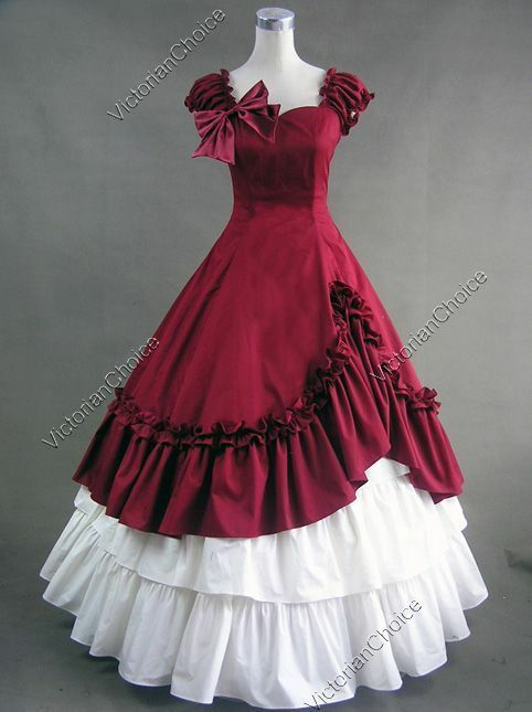 Victorian Christmas Holiday Dickens Caroler Dress Ball Go...
