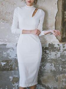 Elegante-raffinato-vestito-abito-tubino-inverno-manica-lunga-bianco-slim-3806