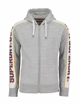 Superdry Men's Street Works Gray Grit Retro Stripe Full Zip Hoodie Retro Full Zip Hoodie