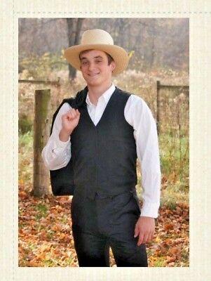 Amish Costumes Halloween (Amish Man's Costume Black Authentic Black Vest Pants Hat)