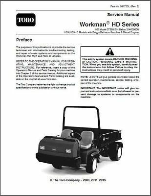 Toro Workman Hd Hdx And Hdx- D Utv Utility Vehicles Service Manual On A Cd