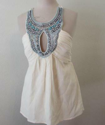 Keyhole Beaded Halter Top - BEBE womens XS ivory embellished keyhole silk stretch halter top FAB