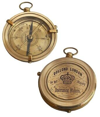 Handcrafted Nautical Vintage Marine Shiny Brass Antique Dollond London Compass