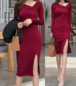 Sexy Long Red Ribbed Sweater Slit Christmas Dress S New