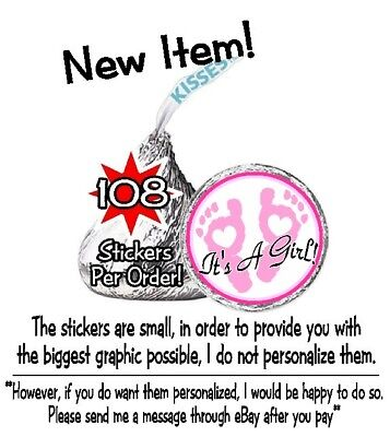 108 It's A Girl Footprints Baby Shower Hershey Kisses Pink Hearts Stickers Its