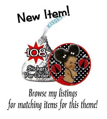 108 Ethnic Afro Princess Ladybugs Baby Shower Birthday Hershey Kisses - Ladybug Baby Shower
