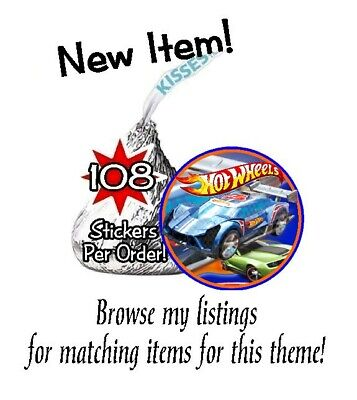 Race Car Baby Shower (108 Hot Wheels Birthday Party Baby Shower Hershey Kisses Stickers Race Cars)