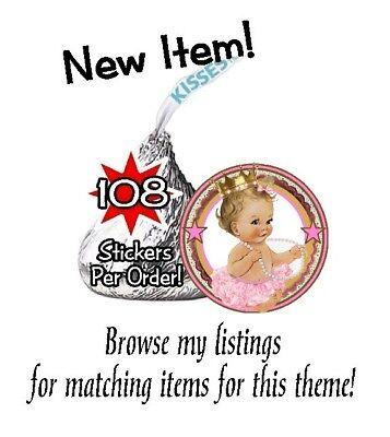 108 Royal Princess Birthday Party Baby Shower Hershey Kisses Stickers Pink Gold - Royal Princess Birthday Party