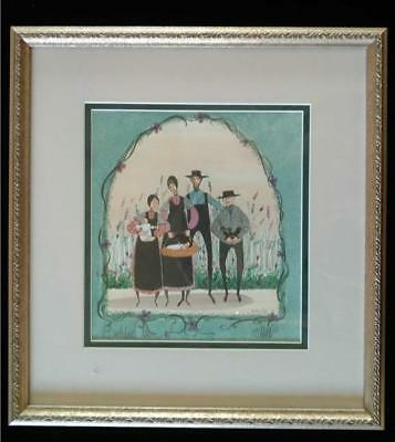 """P BUCKLEY MOSS PRINT """"THE GENERATIONS"""" DOUBLE MAT FRAMED '91 BLACK CATS AMISH for sale  Brooklyn"""