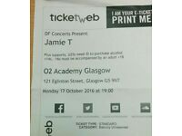 1 x Jamie T ticket GLASGOW O2 ACADEMY - unreserved balcony - face value