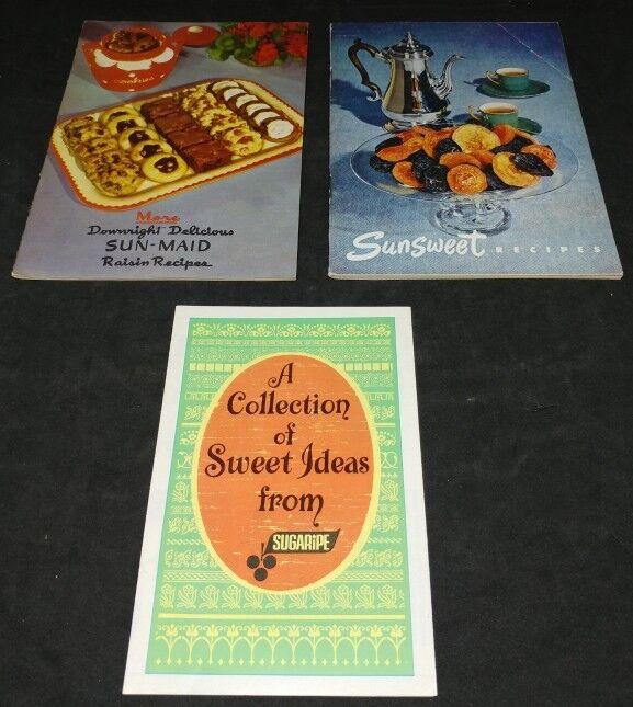 Vintage Recipe Booklets Raisins Prunes Sun-Maid Sunsweet Sugaripe