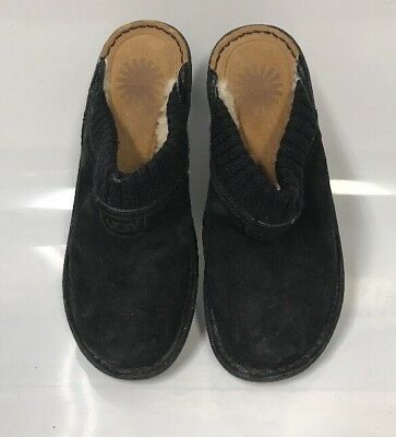 WOMENS UGG AUSTRALIA 1934 GAEL BLACK SUEDE SHEARLING LINED Mule SZ 6  (sh14), used for sale  Monroe
