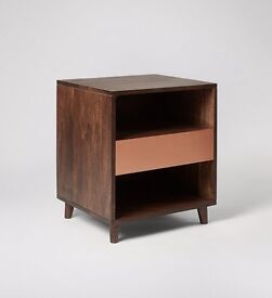 Solid wood bedside table with copper pannel