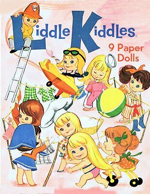 9 Vintage Liddle Kiddles Paper Doll Books On CD