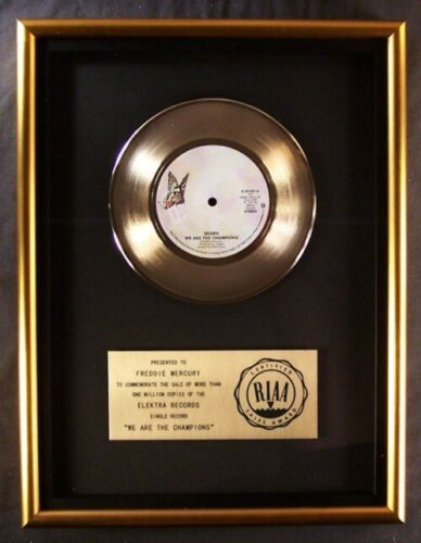 Queen We Are The Champions 45 Gold RIAA Record Award Elektra Records To Freddie