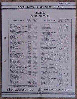 Morris 25hp Series III  1938?  Lucas Parts List 348