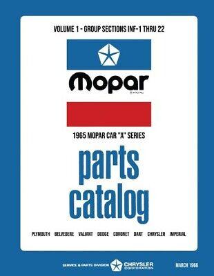 1965 Mopar Parts Book Manual Catalog Plymouth Dodge Chrysler Imperial
