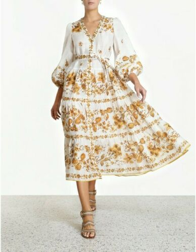 New Zimmermann Amelie Gathered Tiered Dress Size 0 RRP: $950 Current Season