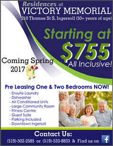 2 Bedroom Barrier-Free Unit Available for Rent: June 1st Move-In
