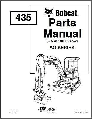Bobcat 435 Mini Excavator Parts Manual On A Cd