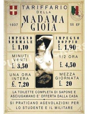 TARGA VINTAGE 1937 CASA DI TOLLERANZA