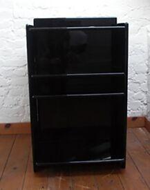 Stylish black lacquered shelves unit