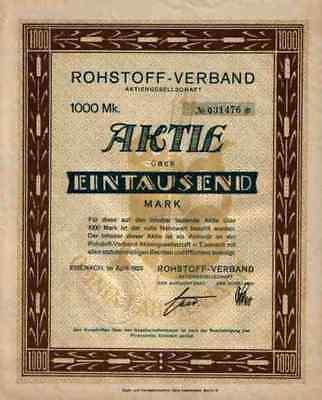 Rohstoff Verband 1923 Eisenach Muldentalwerke Freiberg 1000 Mark Berlin Sachsen