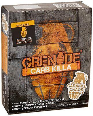 Grenade CARB KILLA  Protein Bars CARAMEL CHAOS Box of 12 Bars