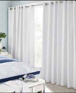 2 White Faux Silk Thermal Grommet Panel Curtains