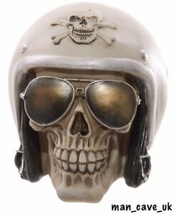 Helmet & Shades Skull Ornament - Unusual - Funky - Collectable - Man Cave
