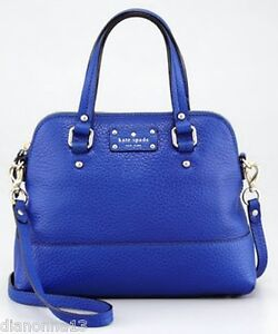 New Kate Spade New York Grove Court Maise Yves Blue Leather Satchel Shoulder Bag