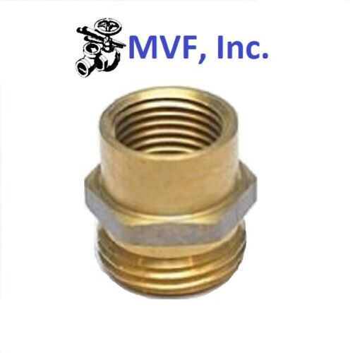 """Garden Hose Fitting 3/4"""" Male GHT x 1/2"""" Female NPT Pipe Brass Adapter <18A-12D"""