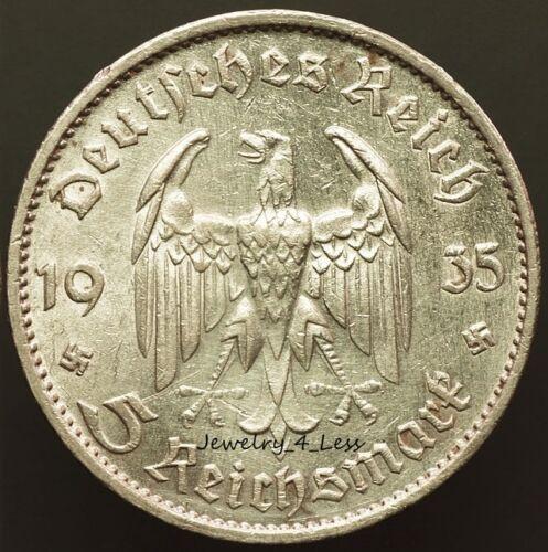 One (1) WW2 German 5 Mark Silver Coin Potsdam Garrison Church 2-Small Swastikas
