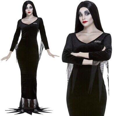 Damen Halloween Lizenziert Morticia Addams Kostüm Kostüm Neue von Smiffys