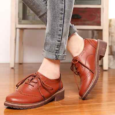 2016 Autumn Womens Shoes leather Flats Brogue Oxford Casual FLAT Oxford Shoes