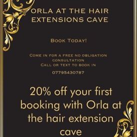 Orla at the hair extension cave. Eyelashes, spray tans and extensions!