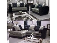 3+2/corner New modern crush velvet sofa set 5 only to clear + delivery