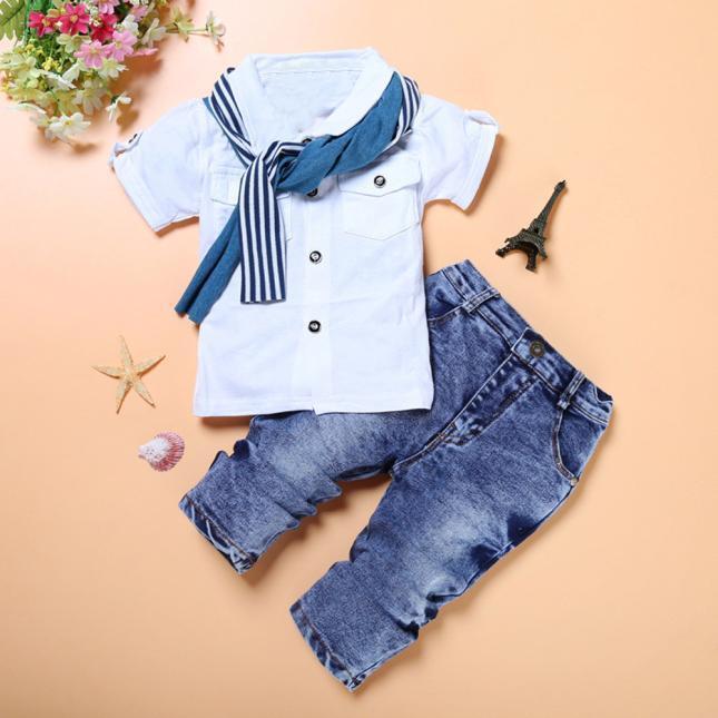 3PCS Toddler Kids Boys Summer Clothes T-shirt Tops Denim Pants Scarf Set Outfits