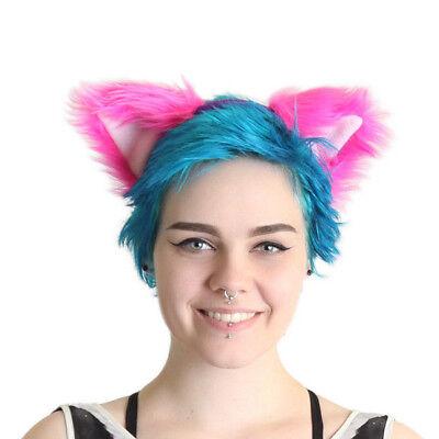 Furry Cheshire Cat Costume (PAWSTAR Cheshire Cat Ears Headband - Furry Cosplay Costume Pink Purple)