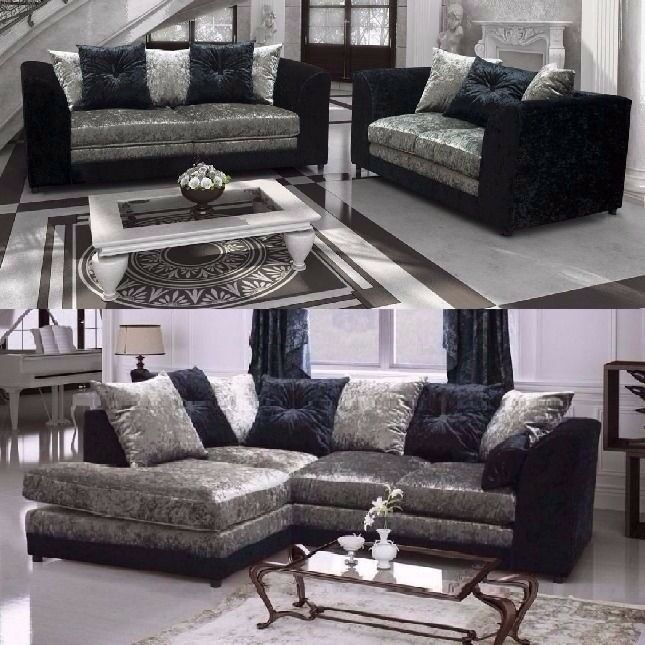 MEGA SALE== NEW DOUBLE PADDED == DYLAN CRUSHED VELVET CORNER SOFA OR 3 AND 2 SOFA