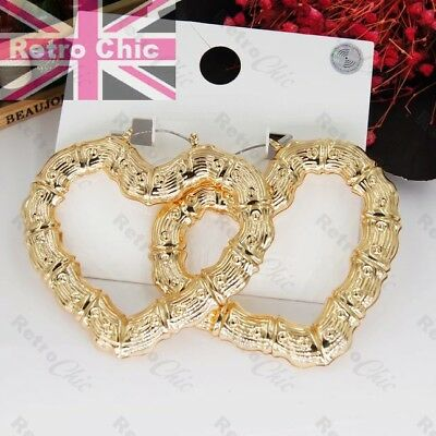 GYPSY HEART HOOP ornate bamboo retro creole hearts GOLD FASHION HOOPS earrings