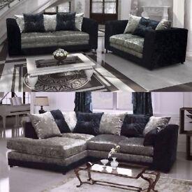 ❤ Best Selling Brand ❤Wow Brand New Italian Crushed Velvet Extra Padded Dylan Corner Sofa / 3+2 Sofa