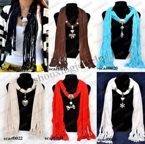NEW-mix-6style-womens-ladys-silver-plated-pendant-fashion-necklace-6pcs-scarf