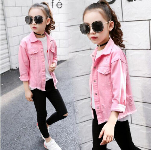 New Girls Denim Jacket Short Jeans Coat Kids Children Long Sleeve Tops Outerwear