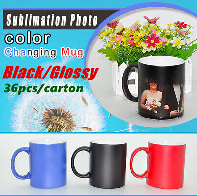 Us Stock 11oz Blank Sublimation Color Changing Mugs Magic Cup Blackglossy