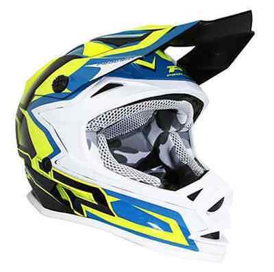 Crosshelm Kind PROGRIP 3009 motocross Mx blau gelb Motorrad Junge Mädchen neu (Mädchen Motocross Helm)