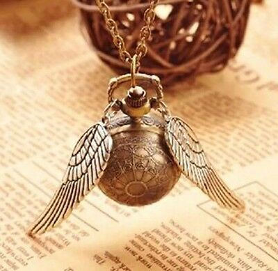 Harry Potter Snitch Pocket Watch Steampunk 25 mm Ball Chain 80cm Gold US Seller