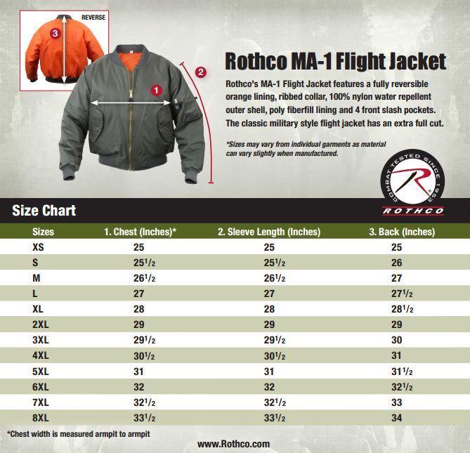 MA-1 Bomber Jacket Flight Coat Air Force Military Reversible Rothco